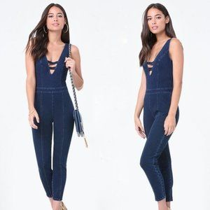Bebe Stretch Denim jean Catsuit Jumpsuit Romper 2